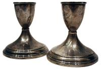 Sterling Silver Candle Holders - Pair | Chairish
