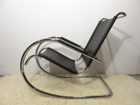 Mies Van Der Rohe Style Mid-Century Leather & Chrome ...