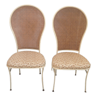 Mid-Century Cane Back Dining Chairs - A Pair | Chairish