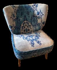 Anthropologie Blue Dhurrie Occasional Chair | Chairish