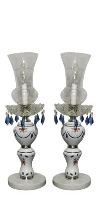 Czech Overlay Lamps Blue Hurricane Marble - Pair | Chairish