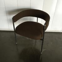 Mid-Century Milo Baughman Style Chrome Barrel Chair | Chairish