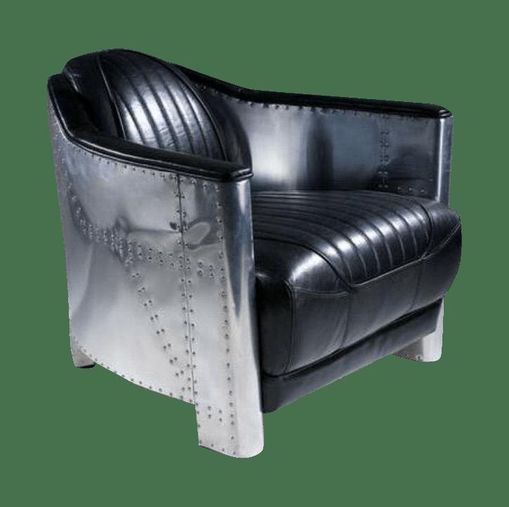 Aviator Black Leather Club Chair Aluminum Sheath