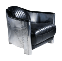 Aviator Black Leather Club Chair Aluminum Sheath