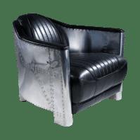 Aviator Black Leather Club Chair Aluminum Sheath   Chairish