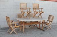 Rustic Teak Patio Dining Table & 6 Chairs | Chairish