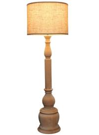Lucerne Turned Wood Floor Lamp | Chairish
