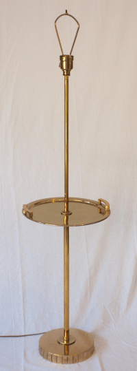 Brass Floor Standing Lamp With Brass Tray Table | Chairish