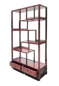 Oriental Rosewood Display Curio Cabinet Divider | Chairish