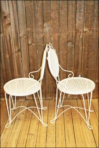 Mid-Century White Patio Tables & Chairs | Chairish