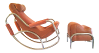 Mid-Century Modern Tubular Chrome Rocking Chair & Ottoman ...