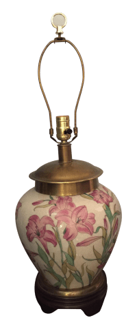 Frederick Cooper Porcelain Brass Lamp | Chairish