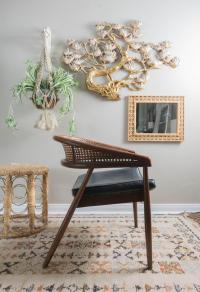 Vintage Mid-Century Curved Cane Back Chair | Chairish
