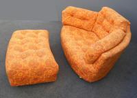Mid-Century Modern Tufted Orange Floral Chair & Ottoman ...