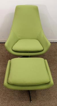 Mid-Century Danish Modern Lime Green Swivel Lounge Chair ...