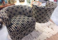 Mid-Century Swivel Barrel Back Club Chairs - Pair | Chairish