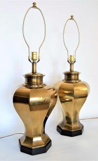 Large Vintage Brass Mid Century Modern Table Lamps by