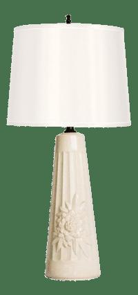 Mid-Century Porcelain Chrysanthemum Table Lamp | Chairish