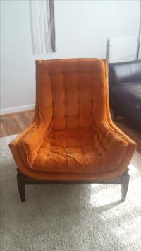 Mid-Century Tufted Orange Velvet Bucket Chair | Chairish