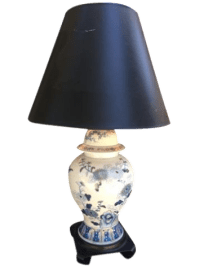 Antique Blue and White Asian Style Lamp | Chairish