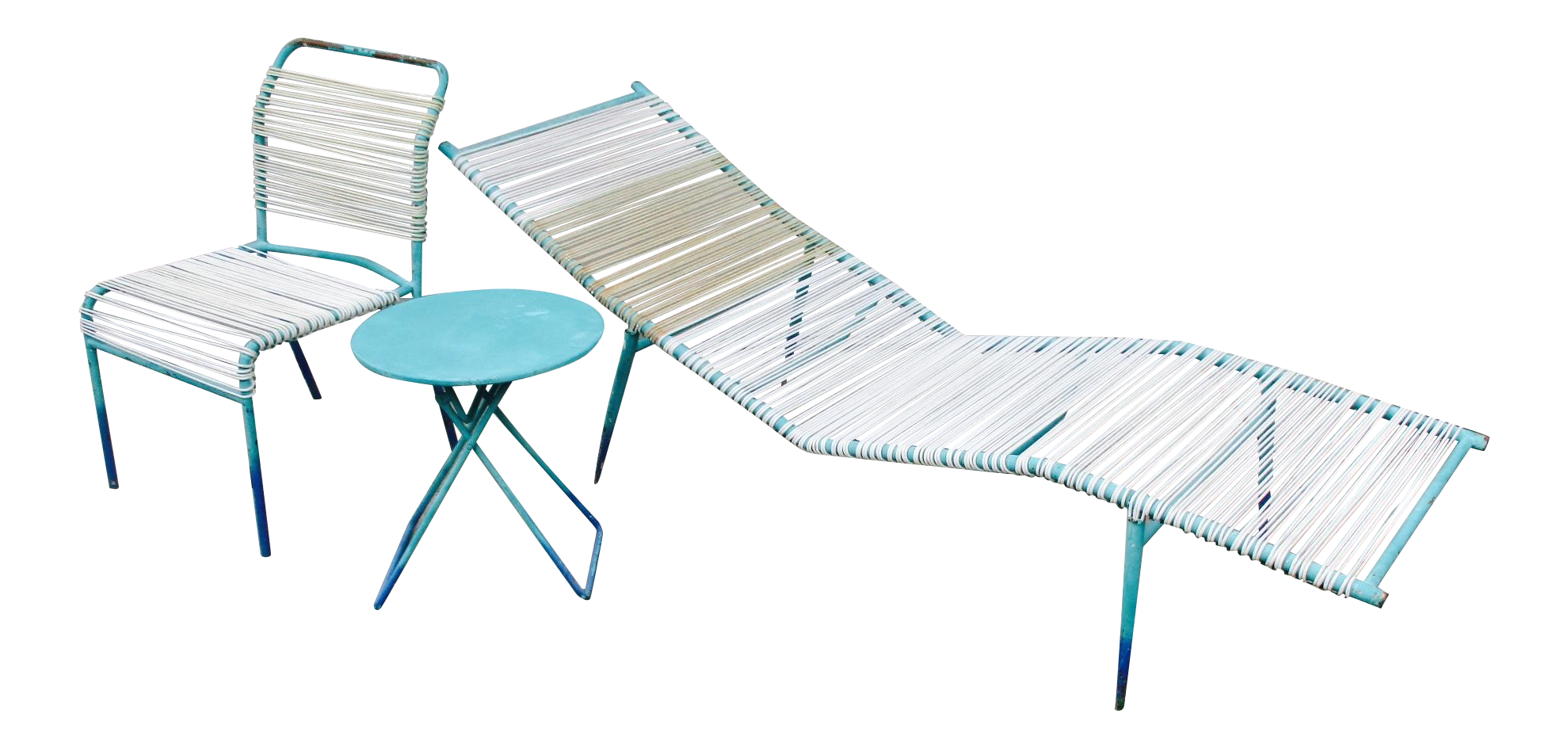 Vanguard Furniture Chaise 1960s Surfline Walter Lamb Cord Patio Set - S/3 Chaise