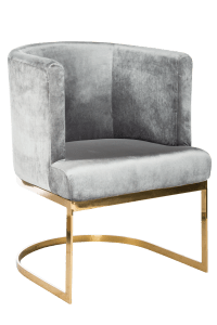 Circular Gray Velvet & Gold Dining Chairs - Set of 6 ...