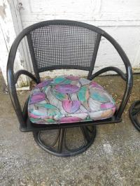Mid-Century Modern Rattan & Cane Back Swivel Chairs- A ...