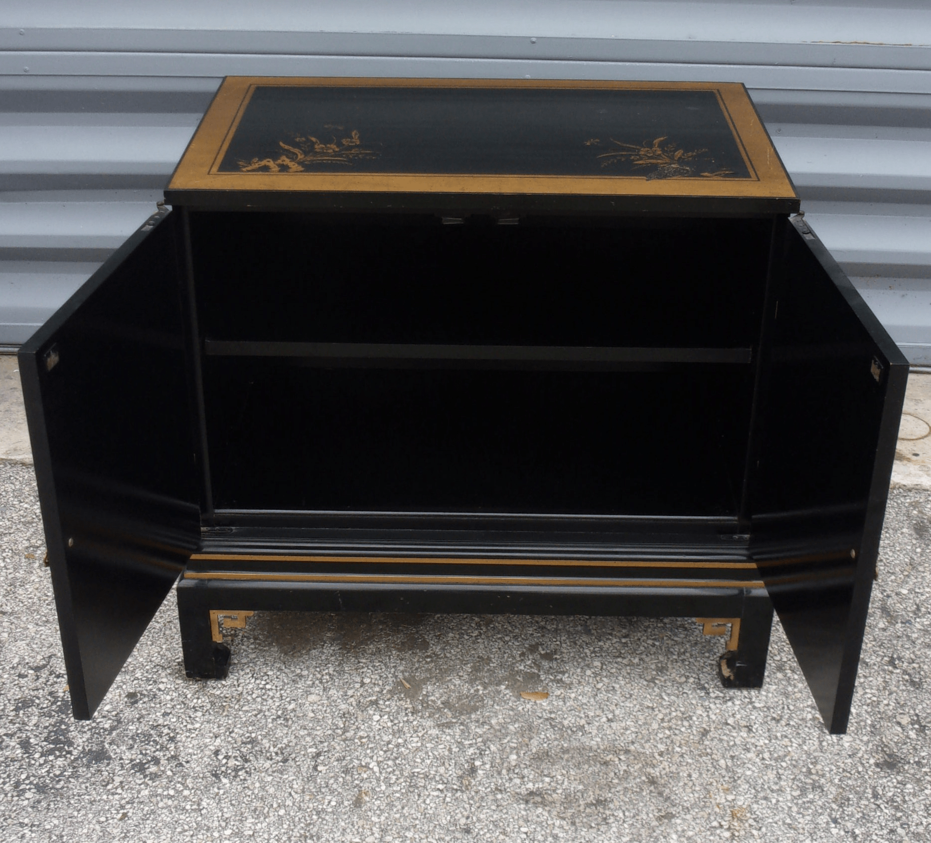 Vintage Asian Style Cabinet With Brass Hardware
