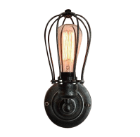 Vintage Industrial Cage Light Wall Sconce | Chairish