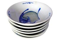 Asian Koi Hand-Painted Soup Bowls - Set of 6 | Chairish