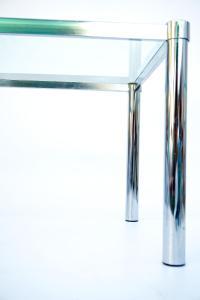 Mid-Century Modernist Chrome & Glass Side Table | Chairish