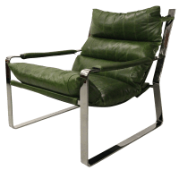 Mid Century Leather & Chrome Sling Chair | Chairish