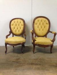 Antique Victorian Yellow Accent Chairs - Pair | Chairish