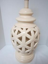 Mid-Century Porcelain Lattice Table Lamp | Chairish