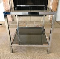Mid Century Chrome Side Table with Smoked Glass Bi-Level ...