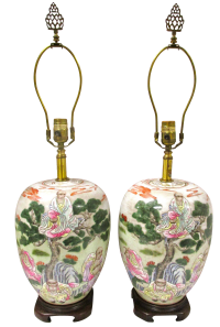 Chinese Ginger Jar Lamps - A Pair | Chairish