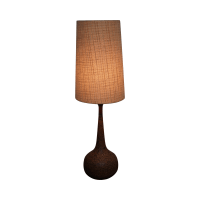 Mid-Century Modern Cork/Teak Table Lamp & Shade | Chairish