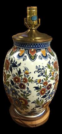 Antique Hand-Painted Porcelain Lamp | Chairish