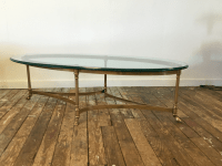 LaBarge Hollywood Regency Brass Oval Coffee Table | Chairish