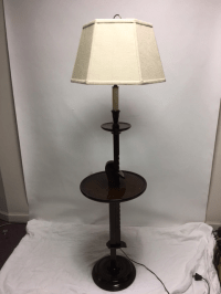 Vintage Ratchet Arm Wood Floor Lamp With Table