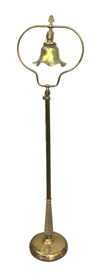 Brass Art Deco Lundberg Glass Shade Floor Lamp | Chairish