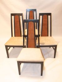 Mid-Century Modern Cane Back Ebonised Chairs - 4 | Chairish