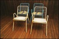 Mid Century Modern Metal Stacking Patio Chairs - Set of 4 ...