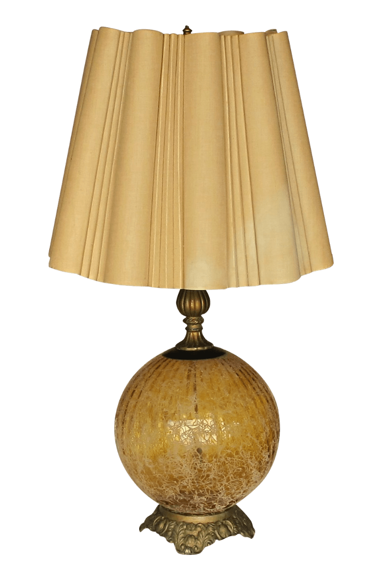 Single Gold Crackle 1950s Lamp