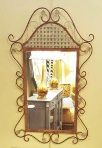 Rustic Metal Wall Mirror | Chairish