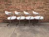 Mid-Century Modern Tubular Chrome Dining Chairs- Set of 4 ...