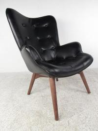 Mid-Century Style Wingback Lounge Chair With Ottoman ...