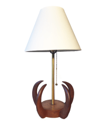 Mid Century Modern Teak Sculptural Table Lamp | Chairish