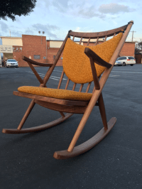 Danish Modern Yellow Cushioned Sculptural Rocking Chair ...