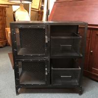 Restoration Hardware Industrial Metal Cabinet | Chairish